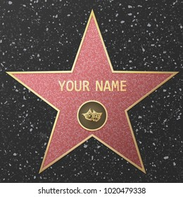 Vector Illustration of famous popular talent star representing theatre or live performance. Celebrity on Hollywood Walk of Fame.
