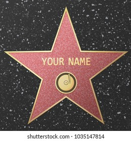 Vector Illustration of famous popular talent star representing audio recording or music. Celebrity on Hollywood Walk of Fame.