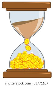 "Vector - An illustration of the famous saying: ""Time is Money"". The sands in an hourglass become coins as time passes."
