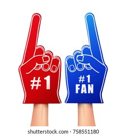Vector illustration of fan foam gloves in red and blue color isolated on white background