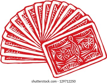 Vector illustration of fanned deck of playing cards