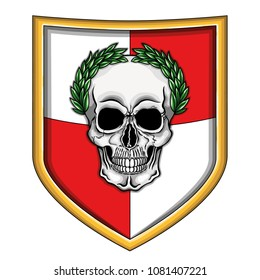 Vector illustration of fantastic empire shield with human skull with green laurel crown.