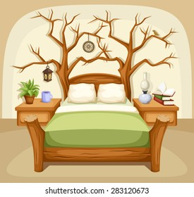 Vector illustration of a fantasy bedroom interior with a bed and trees.