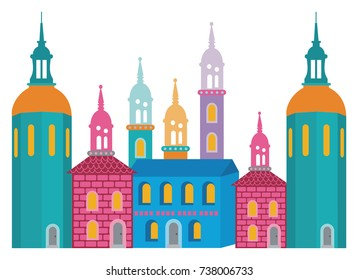 Vector Illustration of a fantasy city of colorful towers