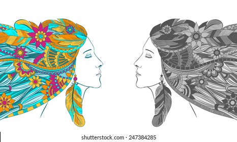 Vector illustration of a fantasy girl with beautiful hair.
