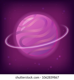 Vector illustration of fantasy planet with ring and stars. Perfect as design element for scientific games, symbol of astronomy and satellite, space objects and other works.