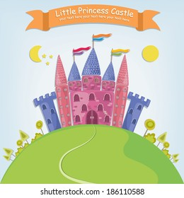 Vector illustration of a fantasy princess castle in a cartoon style with bright colors and a banner