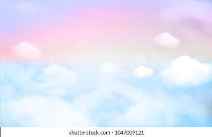 Vector illustration of fantasy sky background and pastel color.