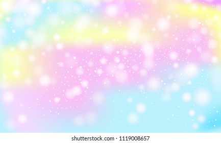 Vector illustration in fantasy style for mermaid, unicorn, rainbow, llamas in pastel shades with glitter. The sky is pastel caramel, white clouds. Pastel clouds and sky with bokeh . Cute bright candy.