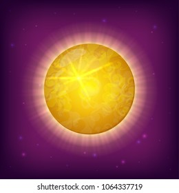 Vector illustration of fantasy sun planet. Perfect as design element for scientific games, symbol of astronomy and satellite, space objects and other works.