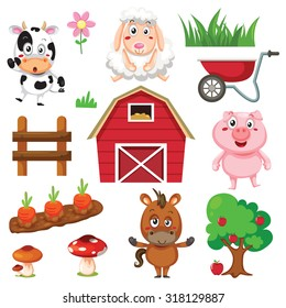Vector illustration of farm animals and related items.