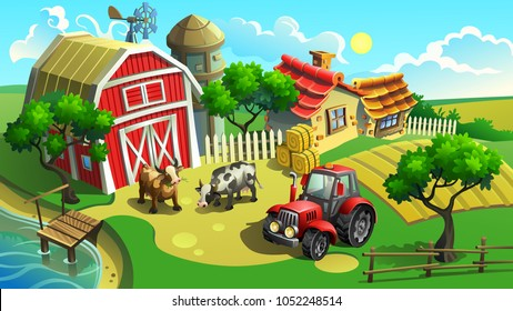 Vector illustration. Farm with field, tractor, houses, shed and cows.