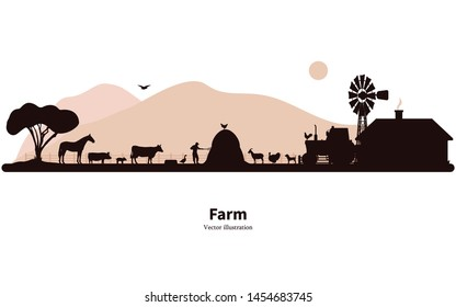 Vector illustration of a farm silhouette with a rustic house tractor animals. Isolated on white background. The concept of farming and animal husbandry.