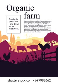 Vector illustration of a farm with silhouettes of cows, chickens and trees. Agricultural template.