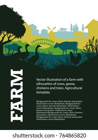 Vector illustration of a farm with silhouettes of cows, geese, chickens and trees. Agricultural template.