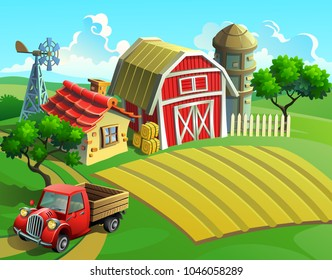 Vector illustration of a farm with a village field, warehouse, van and house.