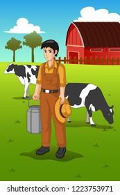 A vector illustration of Farmer Milking Cow