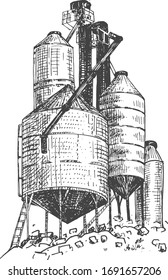 Vector illustration of farmers building. Grain silo storage elevator in a vintage hand drawn style.
