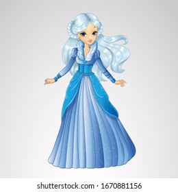 Vector illustration of fashion blonde ice snow queen in long blue dress
