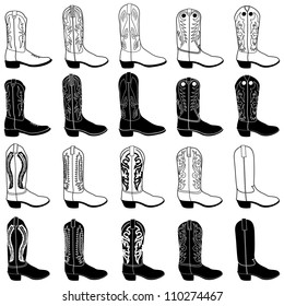 Vector illustration of fashion boots set