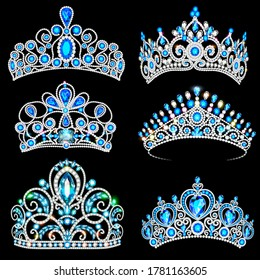 Vector illustration of a fashion collection of jewelry tiaras with diamonds blue sapphire