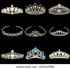 Vector illustration of a fashion collection of jewelry tiaras with diamonds