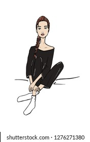 Vector illustration of a fashion girl sitting in loungewear pajama. Hand drawn doodle style.