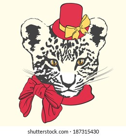 Vector illustration of fashion leopard with red hat, scarf and bows on white background