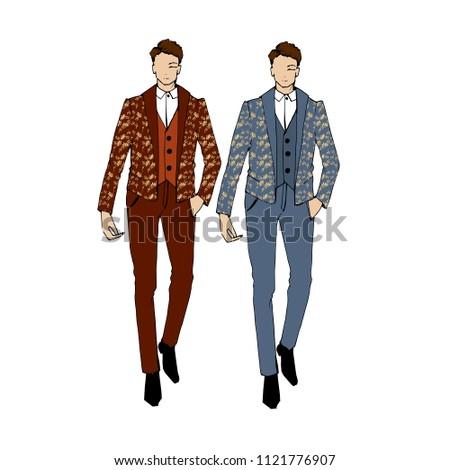 7578a0e22d69 Vector illustration of fashion man. Stylish handsome man in fashion clothes.  Fashion man.