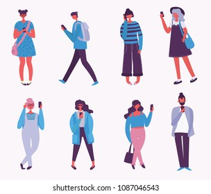 Vector illustration of fashion people speaking phone, making selfie in the flat style. Social concept.