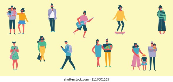 Vector illustration of fashion people speaking phone, making selfie, doing different activities in the flat style. Social concept.