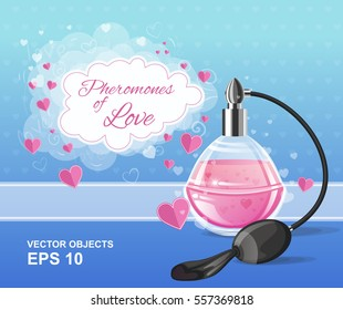 Vector illustration. Fashion pink elegance perfume bottle with a spray. Pheromones of love. Romantic design concept for Valentine's Day
