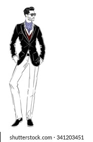 Vector illustration  fashionable man standing in  costume