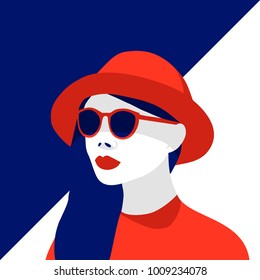 Vector illustration of fashionable woman wearing red hat and stylish sunglasses. Contrast blue and red, negative space
