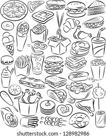 vector illustration of fast food collection in line art mode