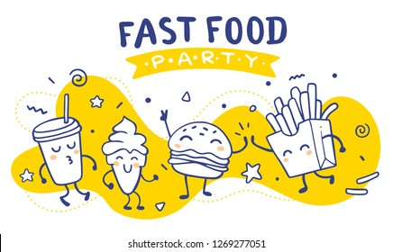Vector illustration of fast food friend party on yellow background. Happy french fries, cola, burger, ice cream character dancing together. Line art style design for web, banner, print