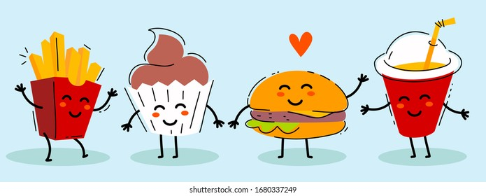 Vector illustration of fast food friend with heart. Happy french fries, cupcake, cola, burger character together on blue background. Flat line art style design for web, site, banner, print