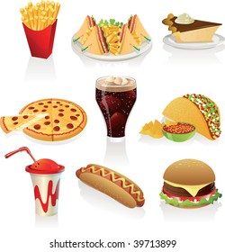 Vector illustration of fast food icons