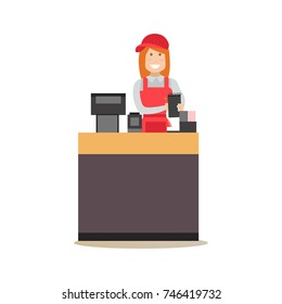 Vector illustration of fast food restaurant worker saleswoman taking order. Food people flat style design element, icon isolated on white background.