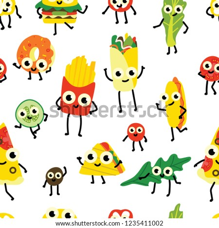 c047eb7c257 Vector illustration of fast food seamless pattern with various full meals  and vegetable ingredients cartoon characters