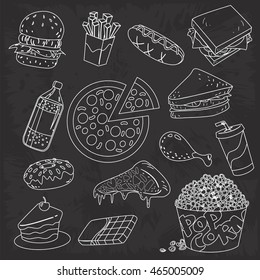 Vector illustration of fast foods, chalk drawing doodle on blackboard