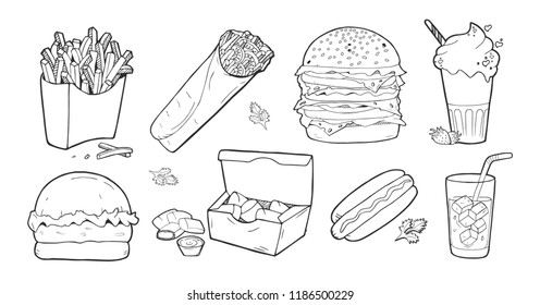 Vector illustration of a fast-food set. French fries, tortilla roll, burger, hamburger, double burger, big burger, chicken nuggets, hotdog, sandwich, milk shake, lemonade drink. Vintage hand drawn