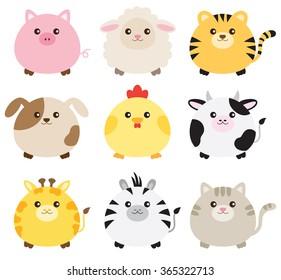 Vector illustration of fat animals including pig, sheep, tiger, dog, chicken, cow, giraffe, zebra and cat.