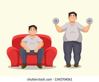 Vector illustration of a fat man on a couch and a fat man exercising
