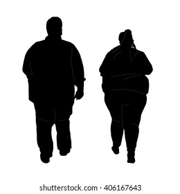 vector illustration - fat man, woman,   overweight boy, girl - silhouette