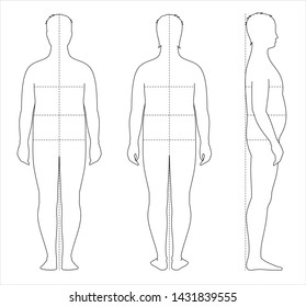 Vector illustration of fat men's body proportions and measurements for clothing design and sewing. Type with increased fat deposition. Front, back, side views