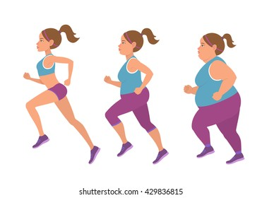 Vector illustration of fat woman jogging to slim shape. Three kinds of female body type.