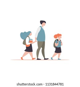 Vector illustration father accompanies his children to school modern style. Couple of schoolgirls with a parent go to school