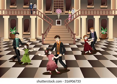 A vector illustration of father dancing with his daughter in the ballroom