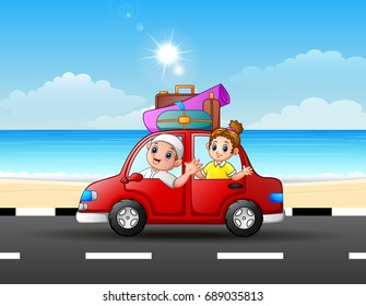 Vector illustration of Father and daughter traveling in a car